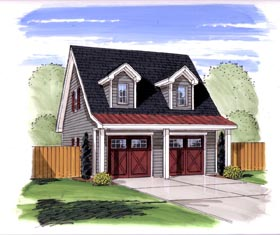 Garage Plan 44140 | Traditional Style Plan, 2 Car Garage Elevation