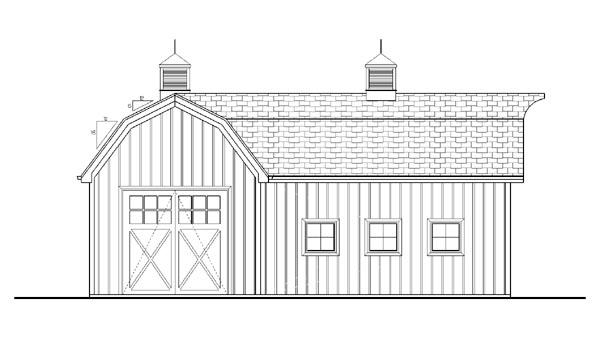 Farmhouse, Traditional 2 Car Garage Plan 44144 Rear Elevation