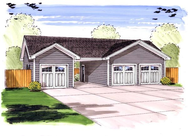 Traditional 4 Car Garage Plan 44156 Front Elevation