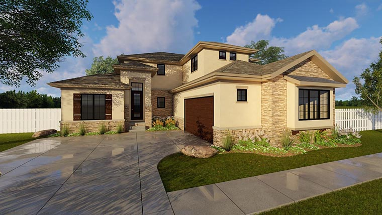 Contemporary Prairie Style Southwest House Plan 44174 Elevation
