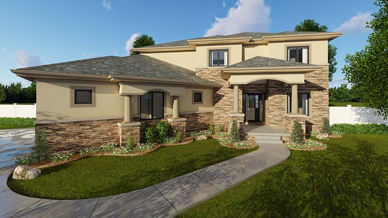 Mediterranean Prairie Style Southwest House Plan 44176 Elevation