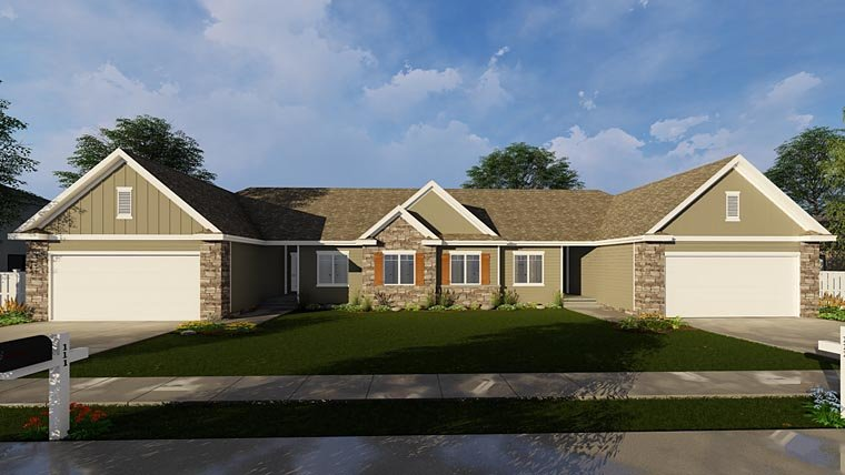 Country Ranch Traditional Multi-Family Plan 44182 Elevation