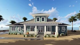 Southwest , Southern , Florida House Plan 44183 with 4 Beds, 3 Baths, 3 Car Garage Elevation