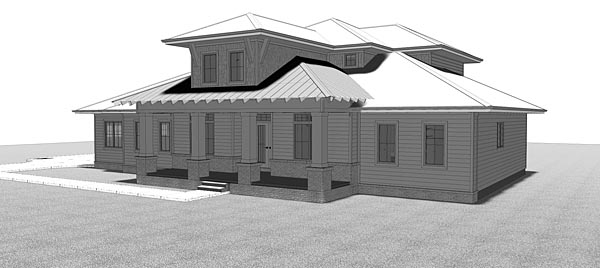 Florida Southern Southwest House Plan 44183 Rear Elevation