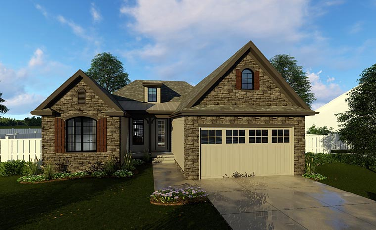 Cottage , European , Traditional House Plan 44184 with 3 Beds, 2 Baths, 2 Car Garage Elevation