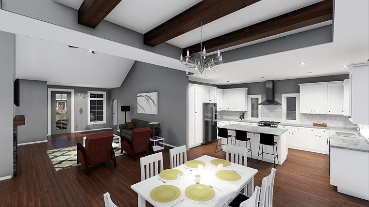 Cottage, European, Traditional House Plan 44184 with 3 Beds, 2 Baths, 2 Car Garage Picture 2