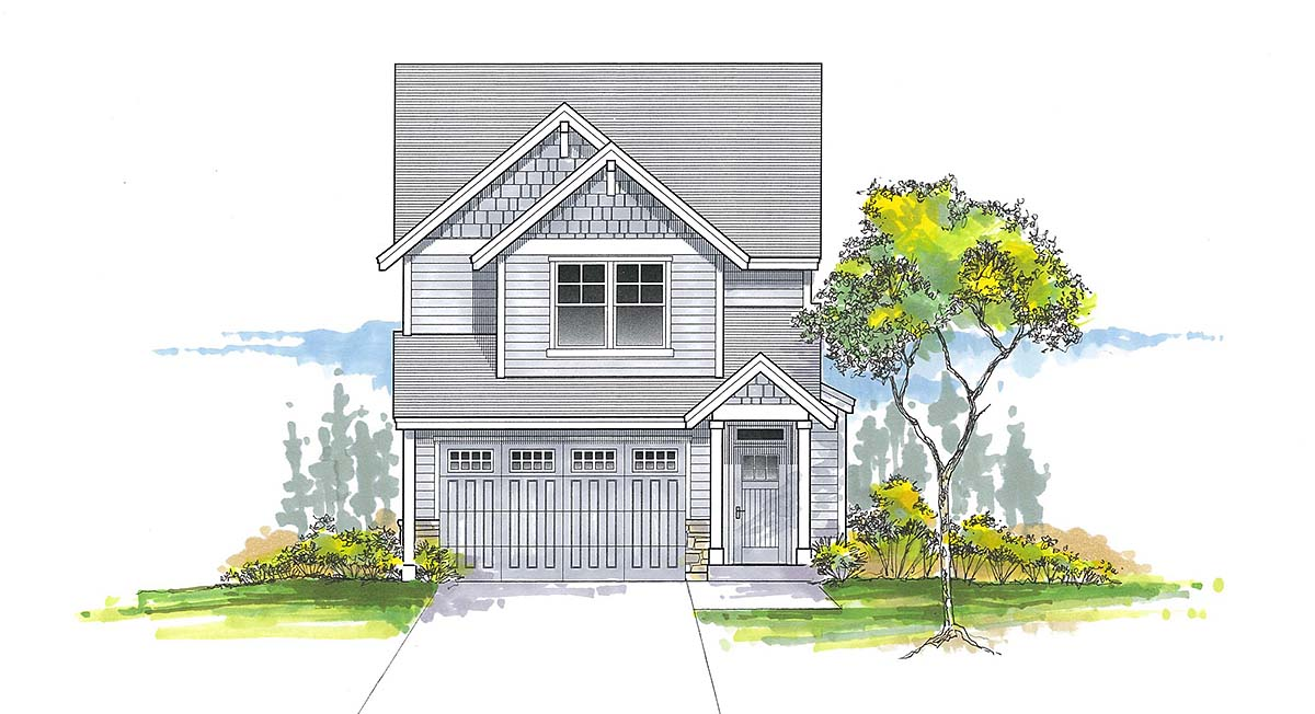 Craftsman, Traditional House Plan 44407 with 3 Beds, 3 Baths, 2 Car Garage Elevation