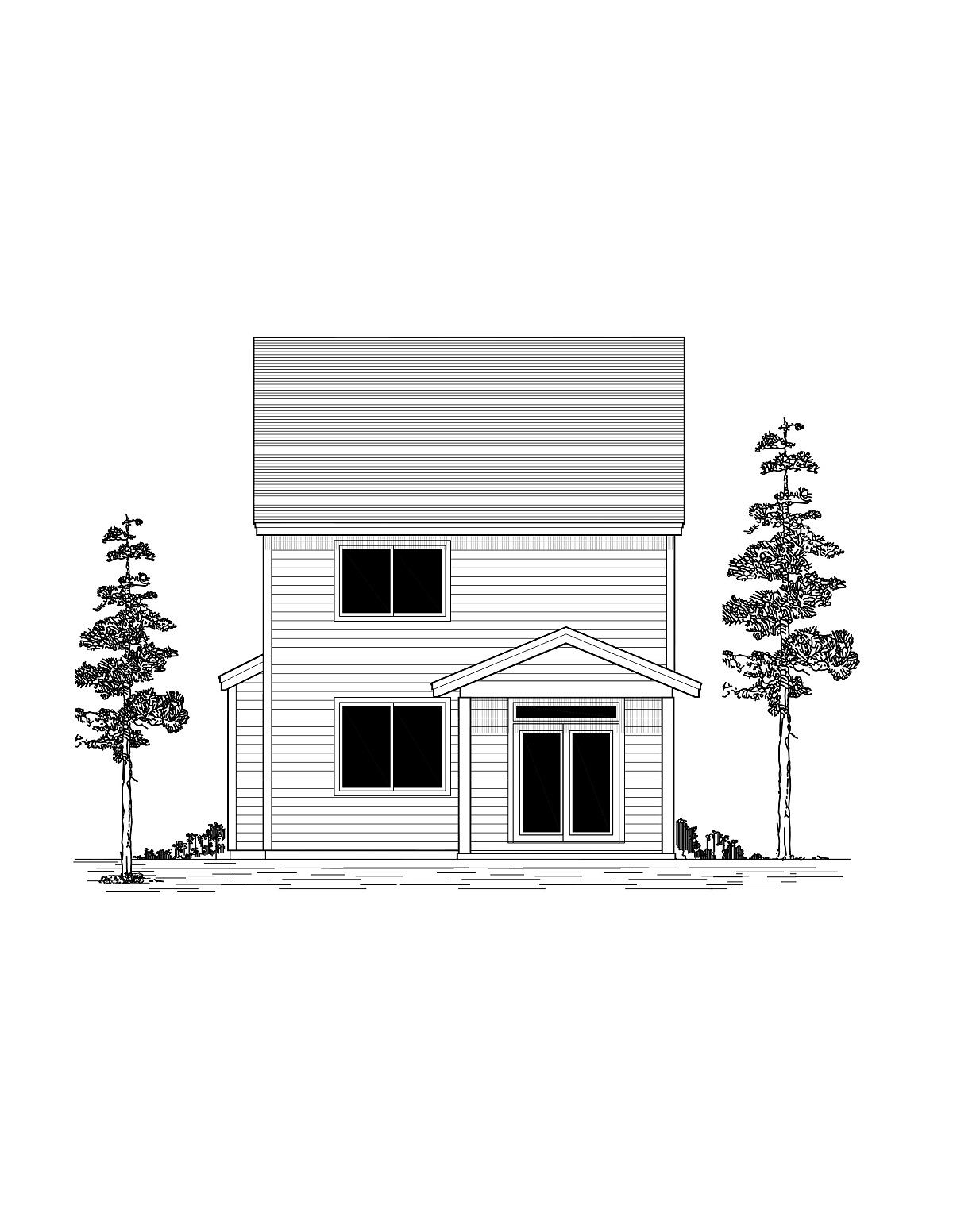 Craftsman, Traditional House Plan 44407 with 3 Beds, 3 Baths, 2 Car Garage Rear Elevation