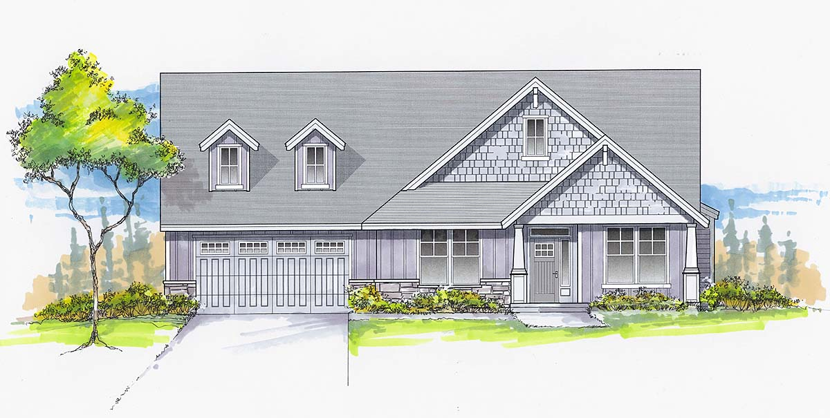 Craftsman, Ranch, Traditional House Plan 44409 with 4 Beds, 3 Baths, 2 Car Garage Elevation