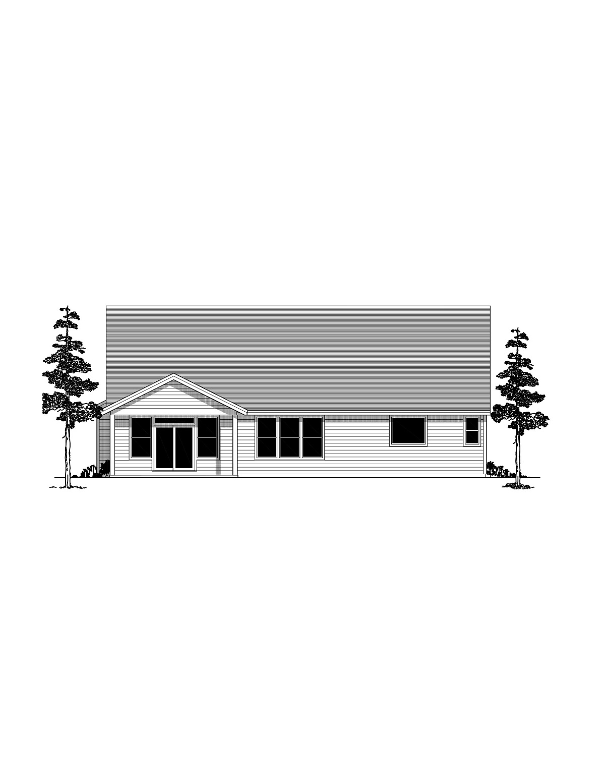 Craftsman, Ranch, Traditional House Plan 44409 with 4 Beds, 3 Baths, 2 Car Garage Rear Elevation