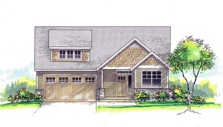 Cottage Country Southern Traditional Elevation of Plan 44502