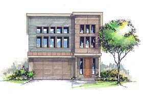 House Plan 44506 | Contemporary Modern Style Plan with 2562 Sq Ft, 3 Bedrooms, 3 Bathrooms, 2 Car Garage Elevation