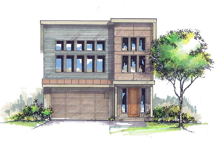 Contemporary Modern Elevation of Plan 44506