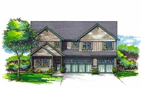 Cottage , Country , Craftsman , Southern , Traditional House Plan 44508 with 4 Beds, 3 Baths, 3 Car Garage Elevation