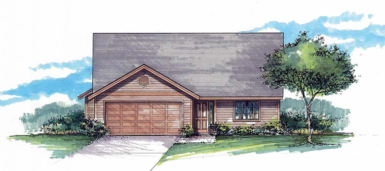 Ranch, Traditional House Plan 44511 with 3 Beds, 2 Baths, 2 Car Garage Elevation