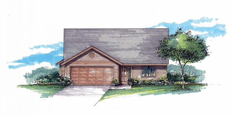 Ranch, Traditional House Plan 44512 with 3 Beds, 2 Baths, 2 Car Garage Elevation