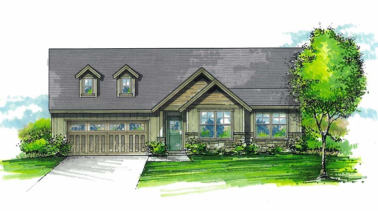 Country Ranch Traditional House Plan 44513 Elevation