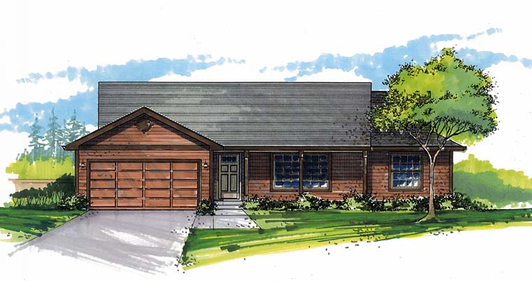 Ranch, Traditional House Plan 44516 with 3 Beds, 2 Baths, 2 Car Garage Elevation