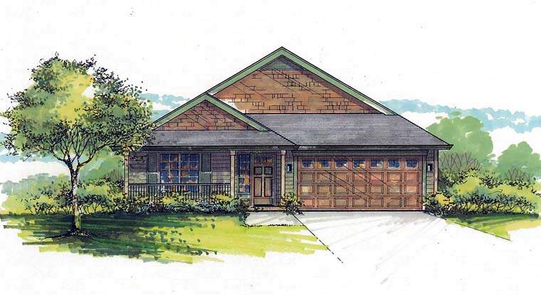 Country Southern Traditional Elevation of Plan 44517