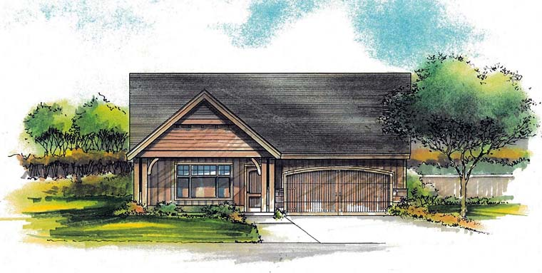 Country, Ranch House Plan 44519 with 3 Beds, 2 Baths, 2 Car Garage Front Elevation