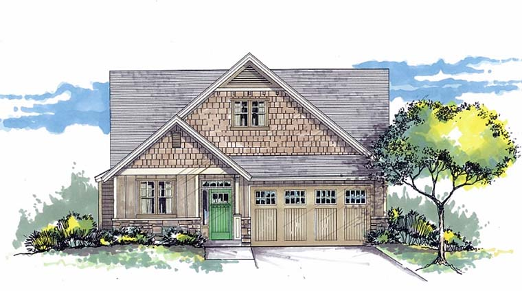 Bungalow, Craftsman, Traditional House Plan 44520 with 3 Beds, 2 Baths, 2 Car Garage Elevation