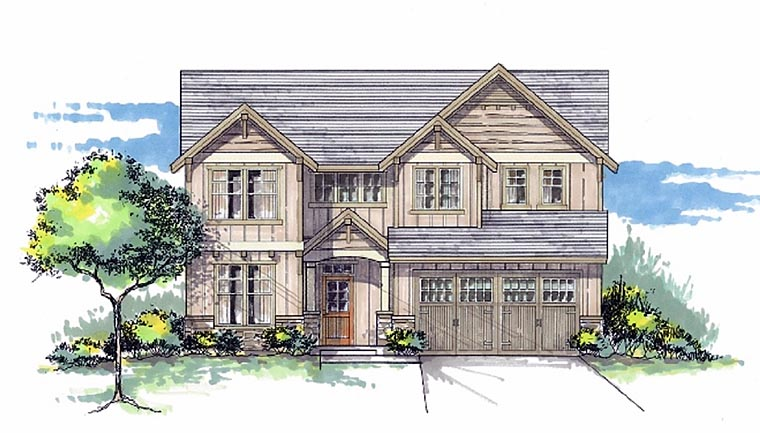 Cottage Country Craftsman Elevation of Plan 44601