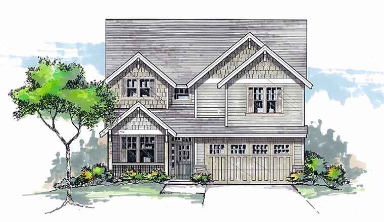 Country, Craftsman, Traditional House Plan 44603 with 4 Beds, 3 Baths, 2 Car Garage Elevation