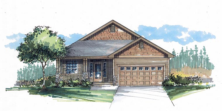Cottage, Craftsman, Traditional House Plan 44605 with 3 Beds, 2 Baths, 2 Car Garage Front Elevation