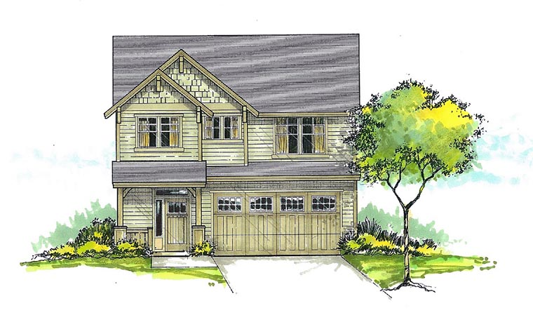 Craftsman, Traditional House Plan 44606 with 3 Beds, 3 Baths, 2 Car Garage Front Elevation