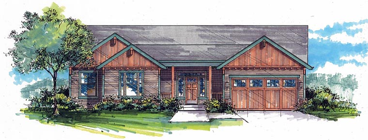 Craftsman, Ranch, Traditional House Plan 44608 with 3 Beds, 2 Baths, 2 Car Garage Elevation