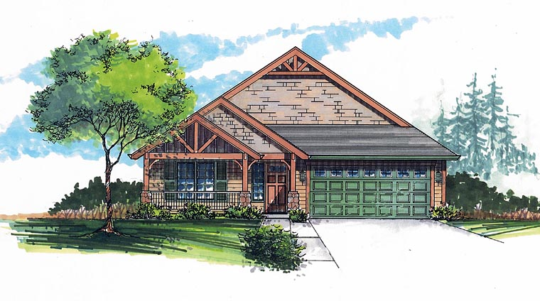 Cottage, Craftsman, Traditional House Plan 44610 with 3 Beds, 2 Baths, 2 Car Garage Elevation
