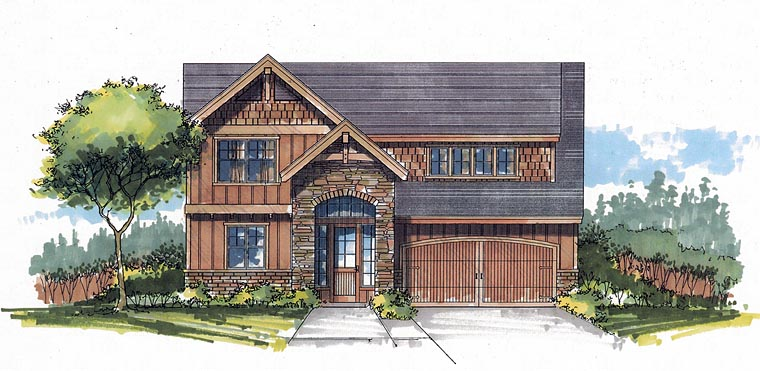Craftsman European Traditional House Plan 44614 Elevation