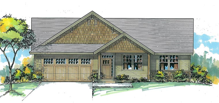 Craftsman Traditional Elevation of Plan 44615