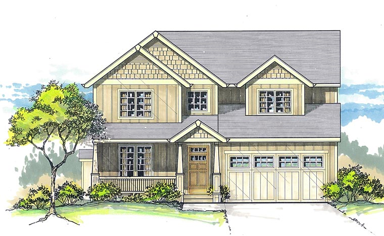Cottage Craftsman House Plan 44620 Elevation