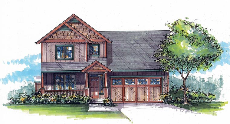 Country Craftsman House Plan 44621 Elevation