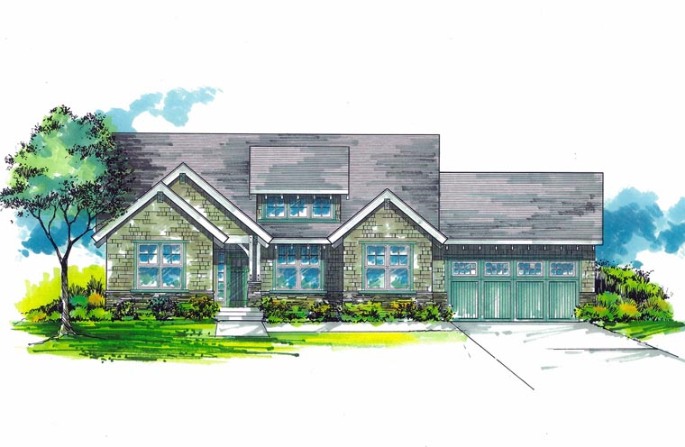 Cottage, Craftsman House Plan 44623 with 3 Beds, 2 Baths, 2 Car Garage Elevation
