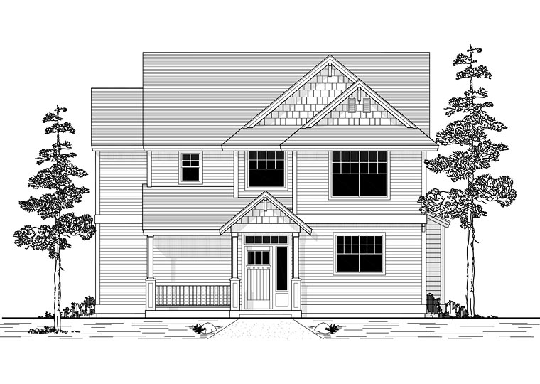 Traditional House Plan 44630 with 4 Beds, 3 Baths, 2 Car Garage Front Elevation