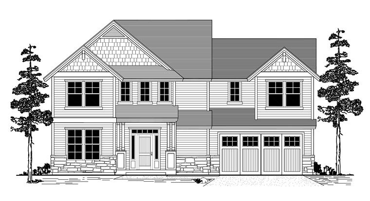 Country, Craftsman, Traditional House Plan 44631 with 3 Beds, 3 Baths, 2 Car Garage Elevation