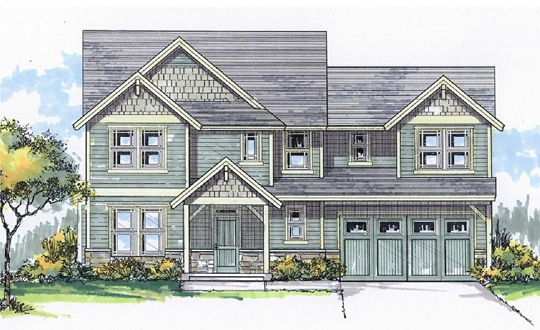 Cottage, Country, Craftsman, Traditional House Plan 44632 with 3 Beds, 3 Baths, 2 Car Garage Elevation