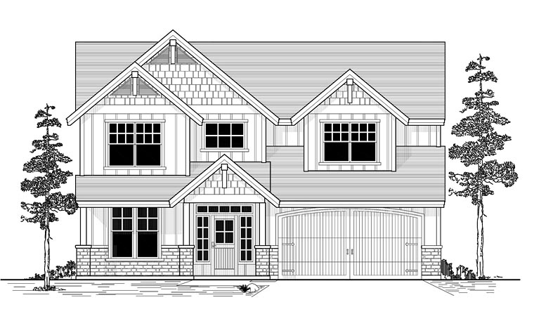 Craftsman, Traditional House Plan 44635 with 4 Beds, 3 Baths, 2 Car Garage Elevation