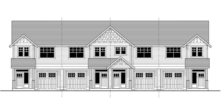 Multi-Family Plan 44637 Elevation