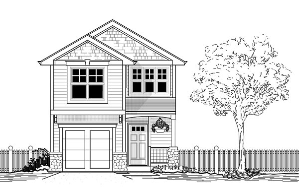 Craftsman, Traditional House Plan 44639 with 3 Beds, 3 Baths, 1 Car Garage Elevation