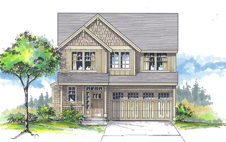 Cottage, Craftsman, Traditional House Plan 44640 with 4 Beds, 3 Baths, 1 Car Garage Elevation