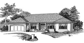 House Plan 44642 | European Ranch Style Plan with 1779 Sq Ft, 3 Bedrooms, 2 Bathrooms, 2 Car Garage Elevation