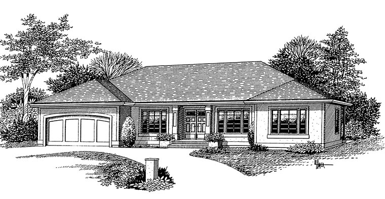 European Ranch House Plan 44642 Elevation