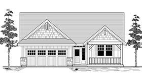 House Plan 44643 | Craftsman Ranch Traditional Style Plan with 1544 Sq Ft, 3 Bedrooms, 2 Bathrooms, 2 Car Garage Elevation