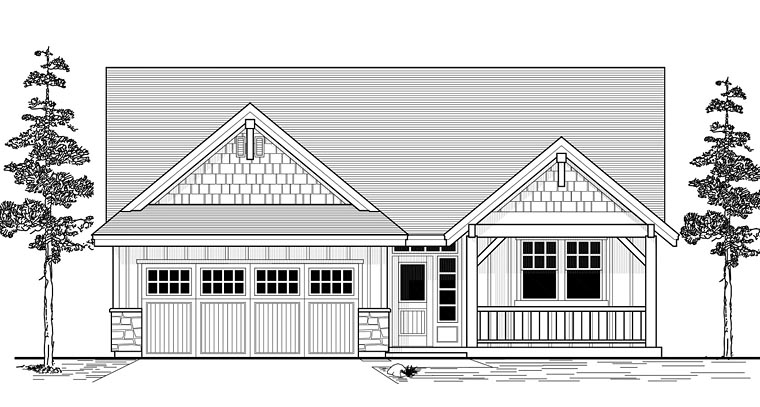 Craftsman Ranch Traditional House Plan 44643 Elevation