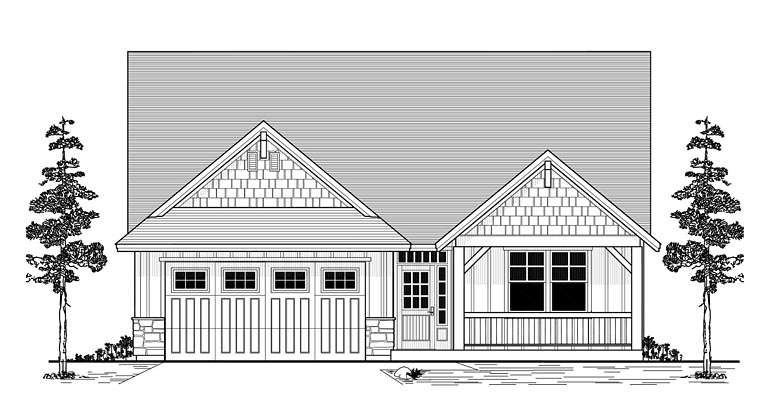 Craftsman Ranch Traditional House Plan 44644 Elevation