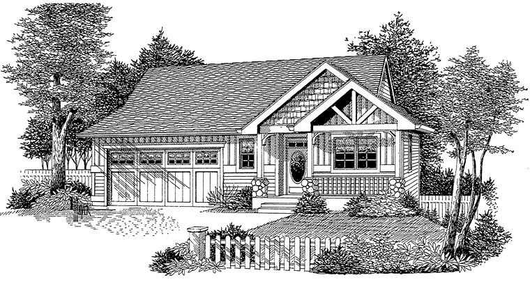 Cottage Craftsman Ranch Elevation of Plan 44645
