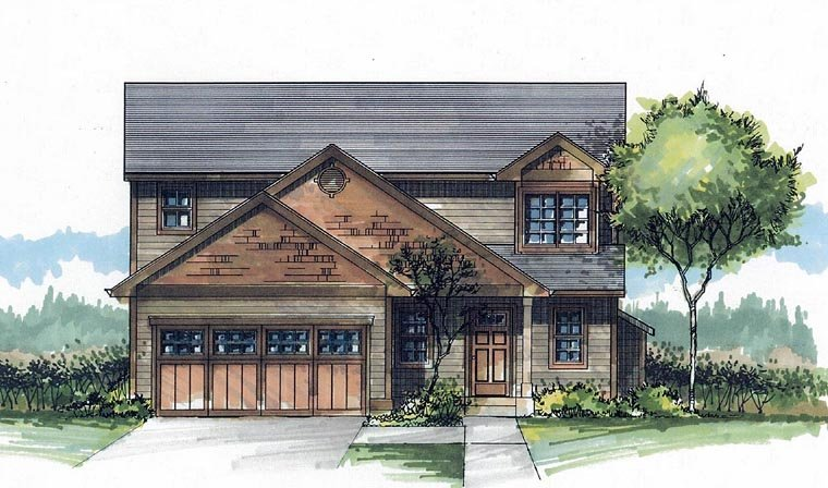 Craftsman Traditional House Plan 44646 Elevation
